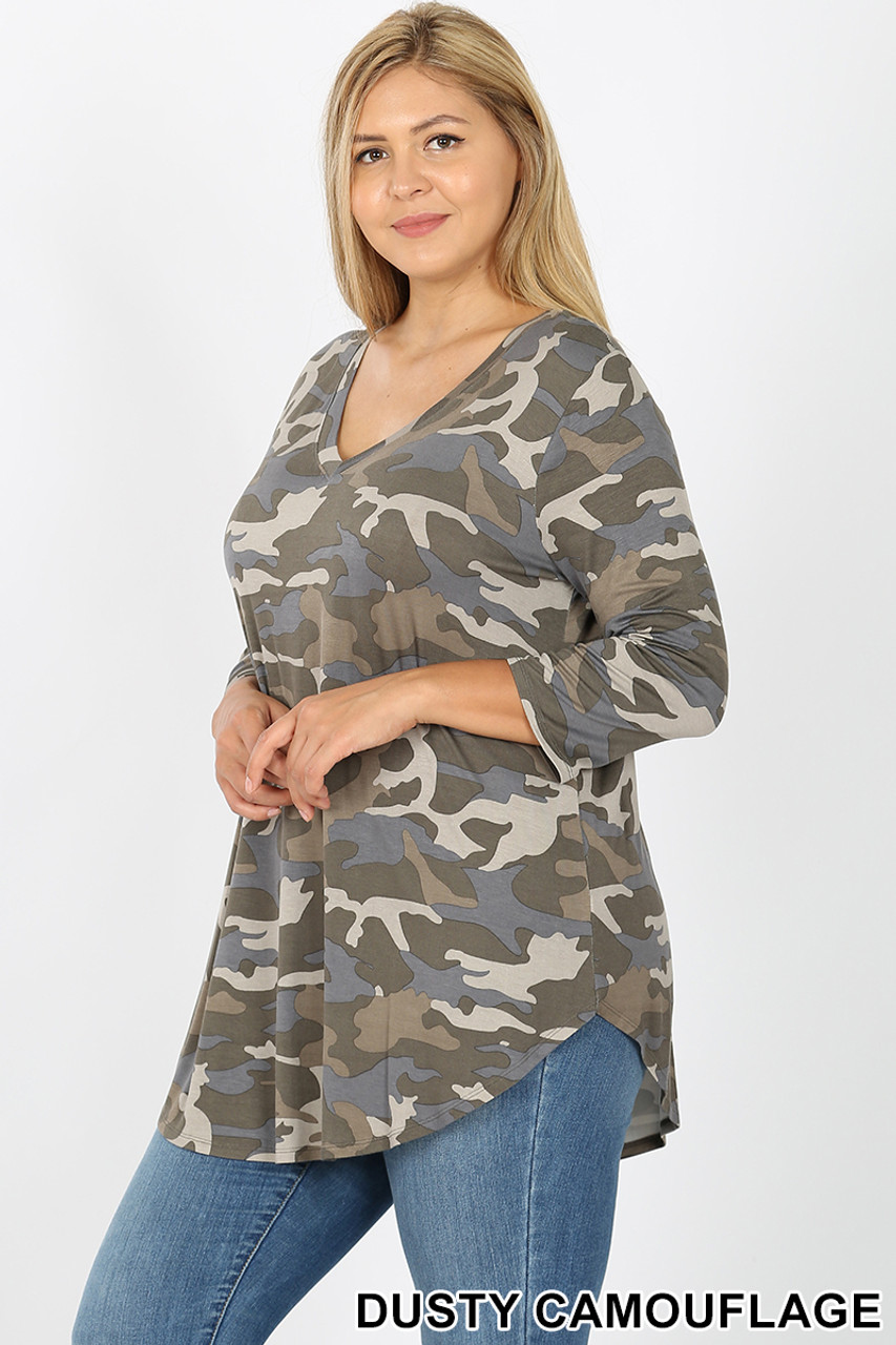 45 degree view of Olive Rayon Camouflage 3/4 Sleeve V-Neck & Round Hem Plus Size Top