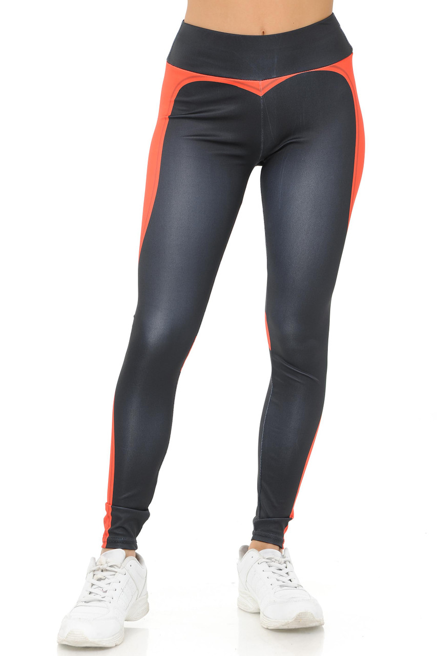 Front Coral Contouring Banded Heart Workout Leggings