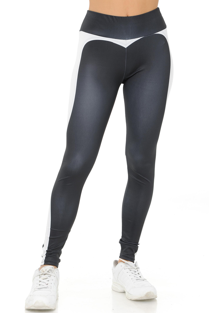 ConFront White touring Banded Heart Workout Leggings