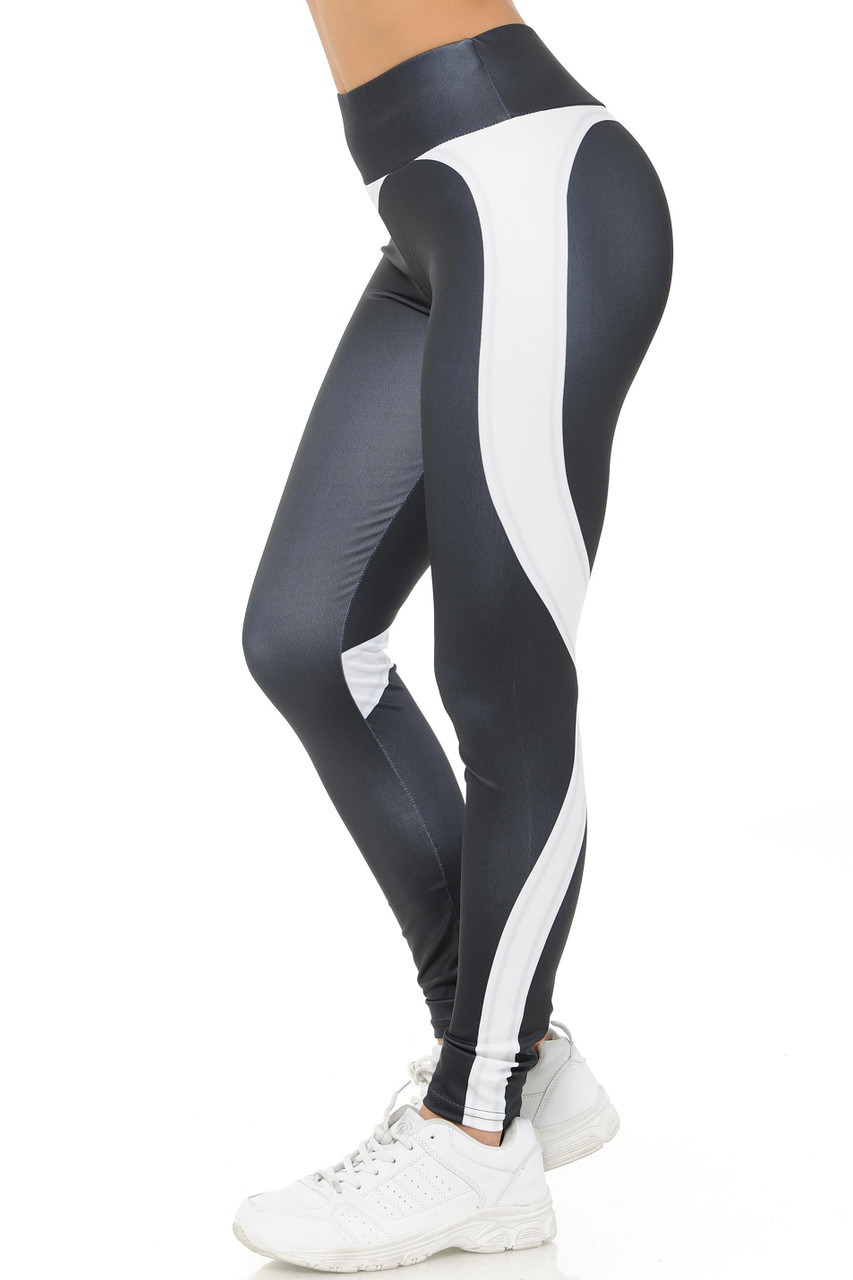Left side White Contouring Banded Heart Workout Leggings