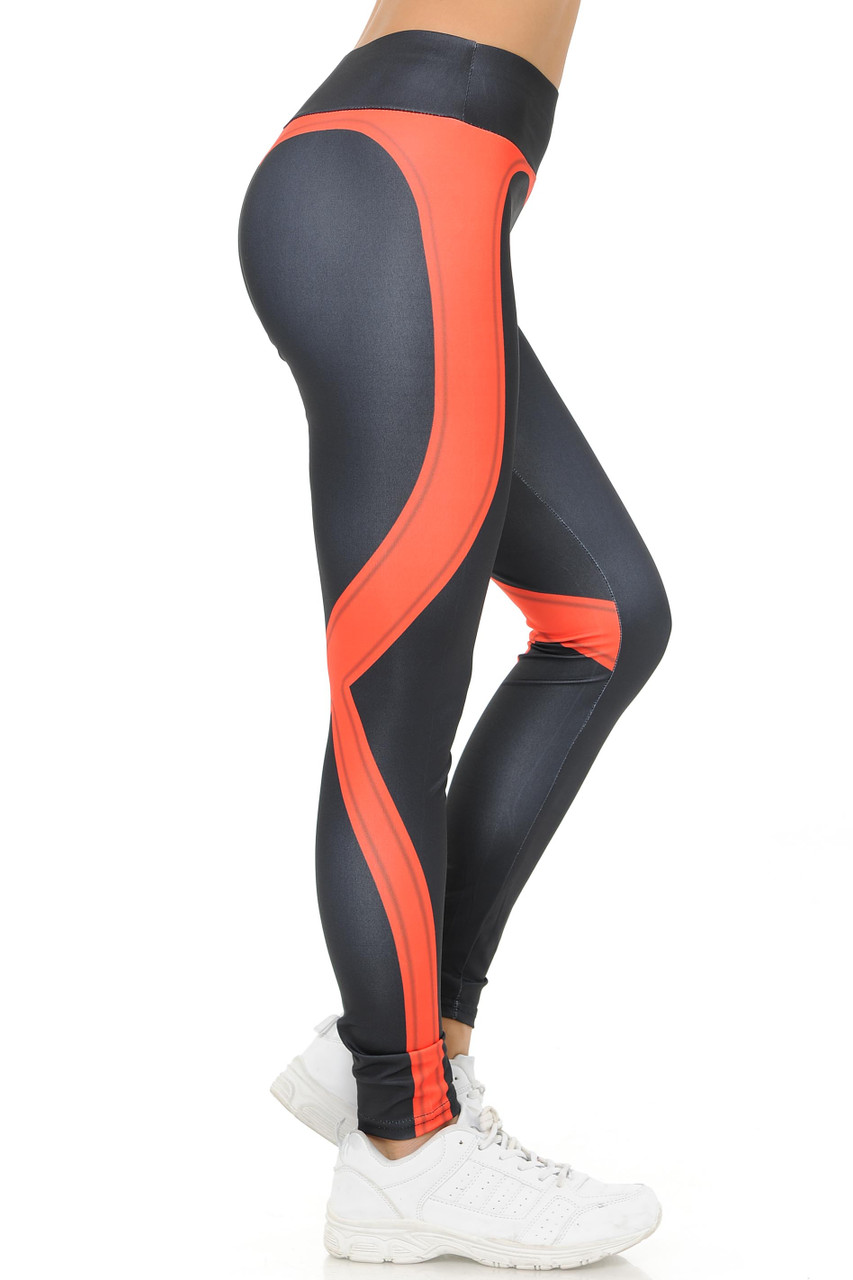 Right side coral Contouring Banded Heart Workout Leggings
