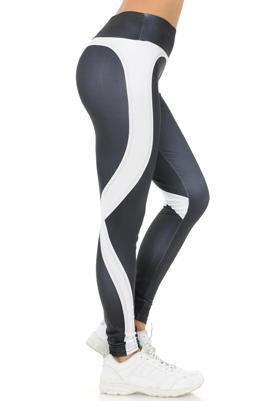 Right side White Contouring Banded Heart Workout Leggings