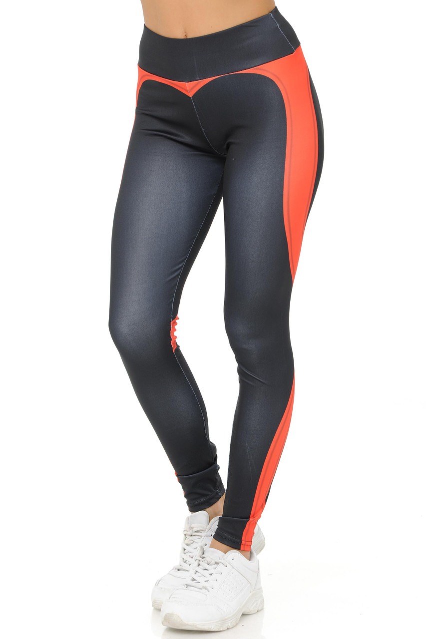 45 Degree angle Coral Contouring Banded Heart Workout Leggings