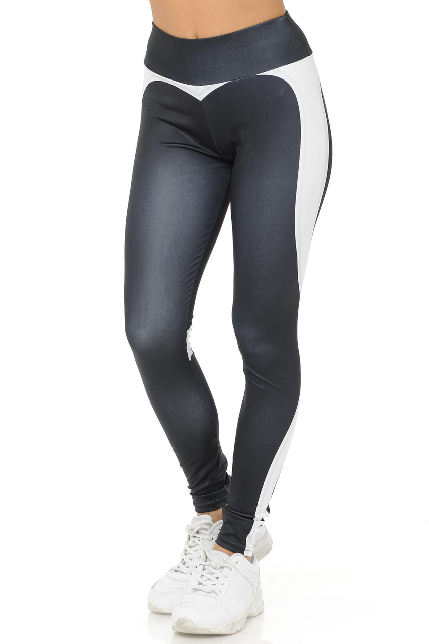 45 degree angle White Contouring Banded Heart Workout Leggings