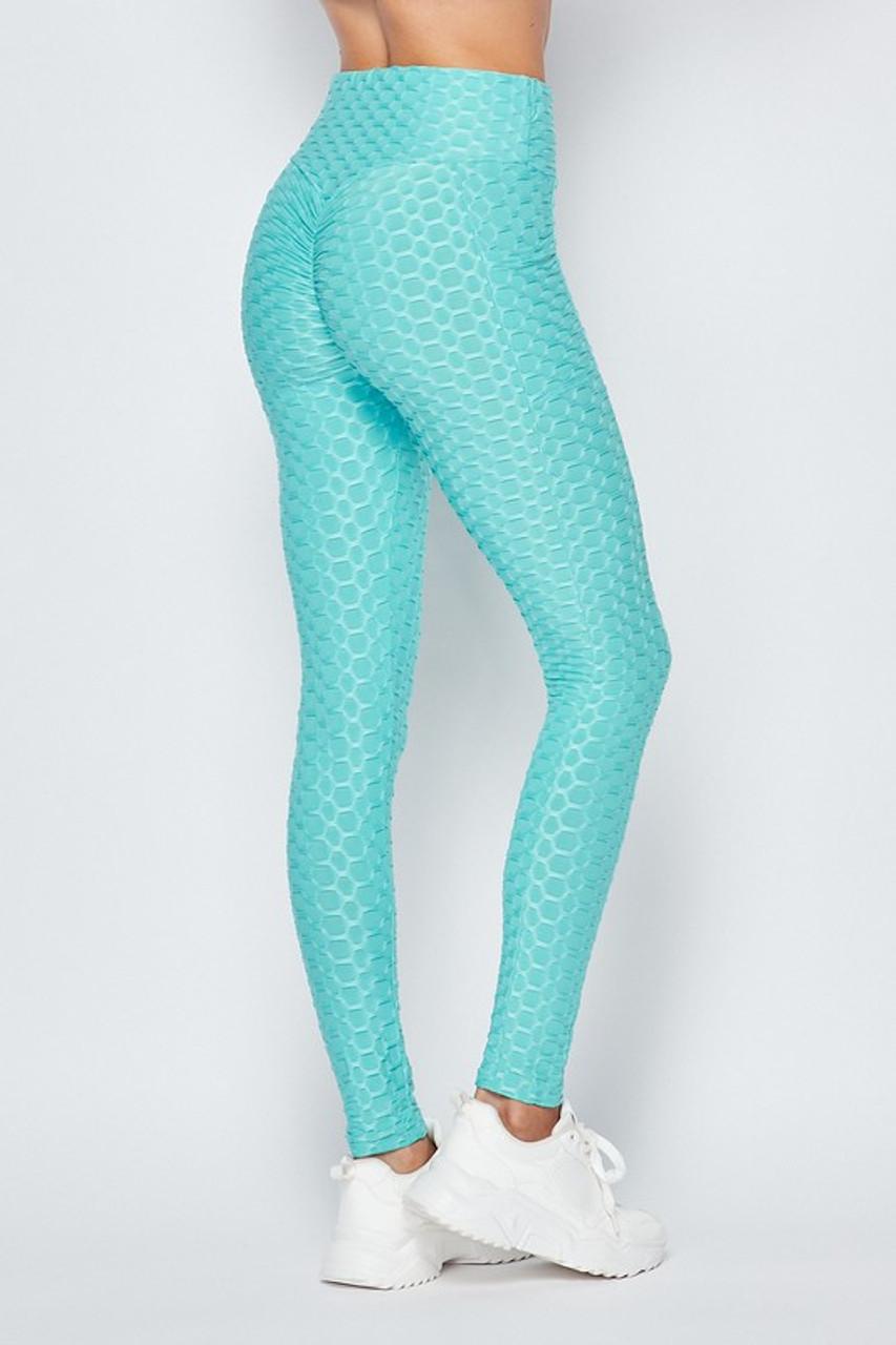 Scrunch Butt Textured High Waisted Leggings with Pockets
