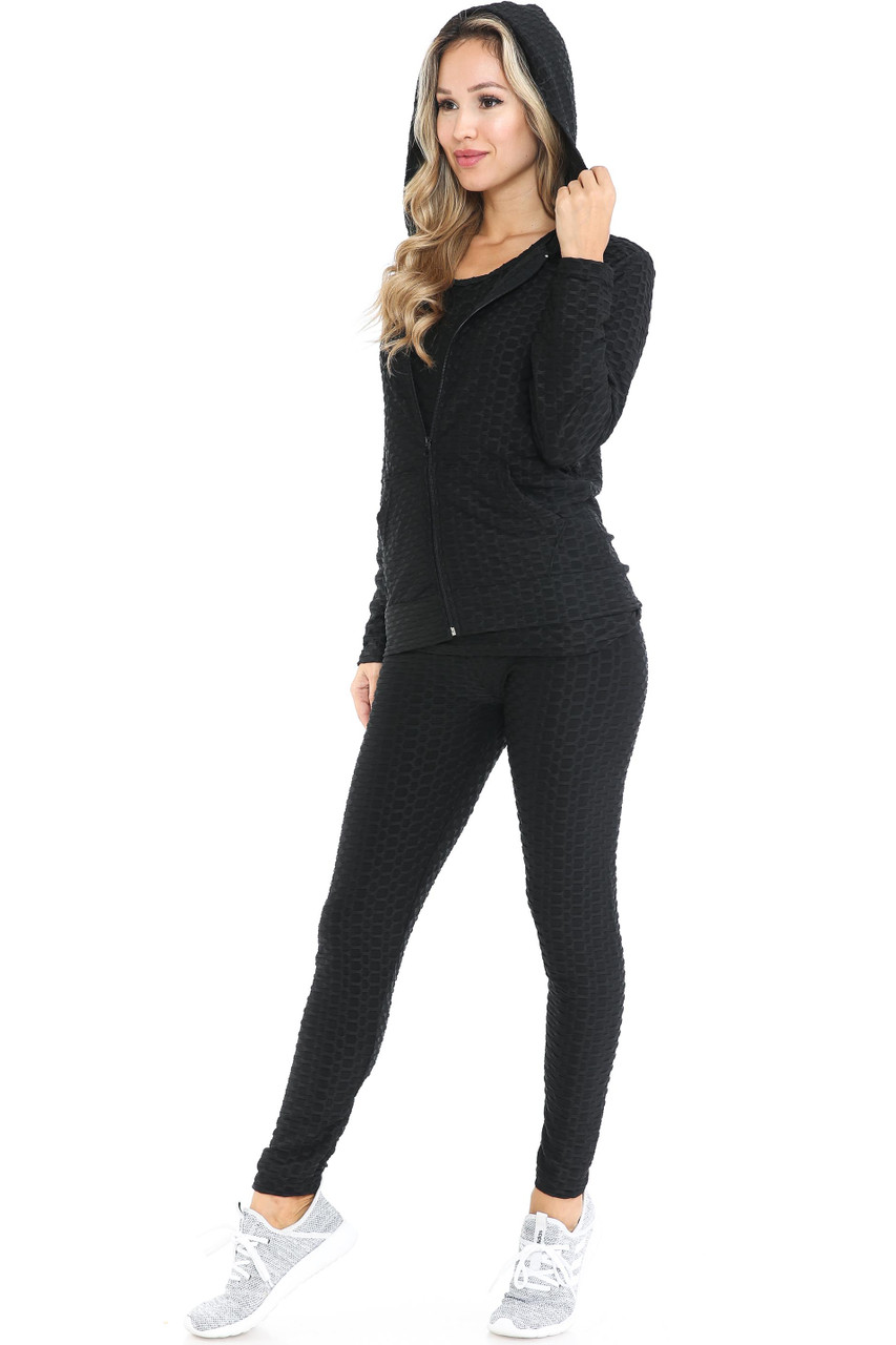 45 degree view of Black 3 Piece Scrunch Butt Leggings Tank Top and Hooded Jacket Set