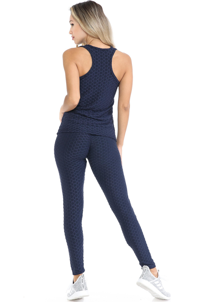 Rear view of Navy 3 Piece Scrunch Butt Leggings Tank Top and Hooded Jacket Set showing the racerback style