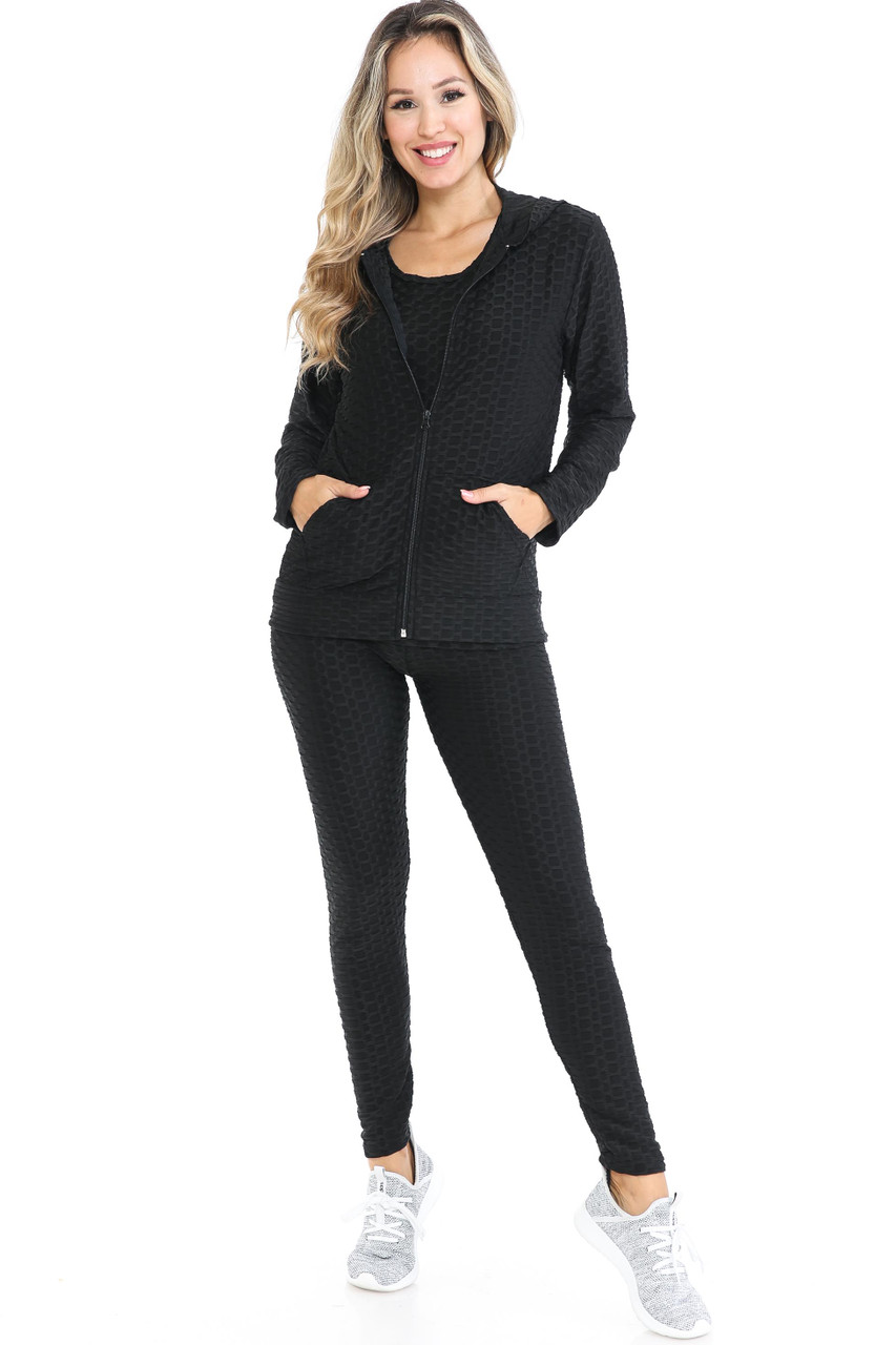 Front view of Black 3 Piece Scrunch Butt Leggings Tank Top and Hooded Jacket Set