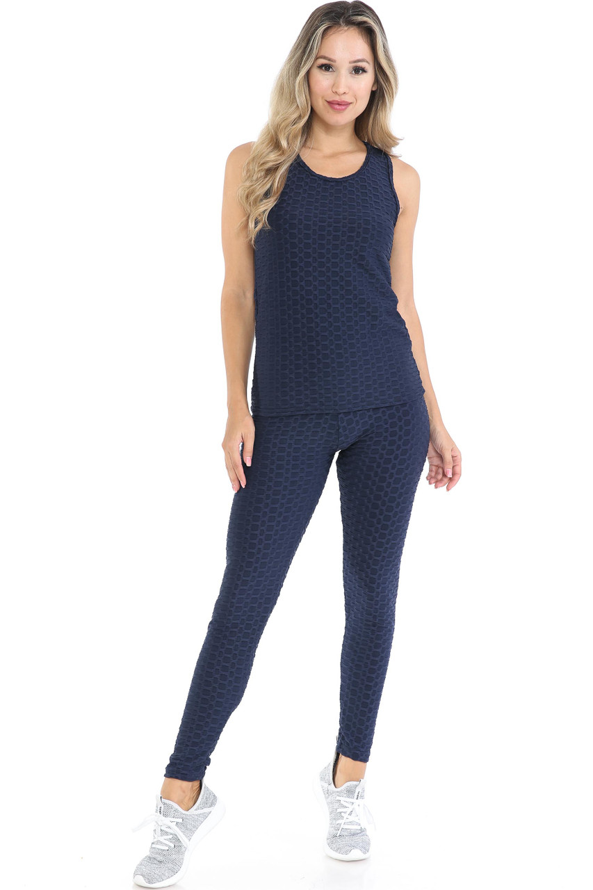 Front view of Navy 3 Piece Scrunch Butt Leggings Tank Top and Hooded Jacket Set