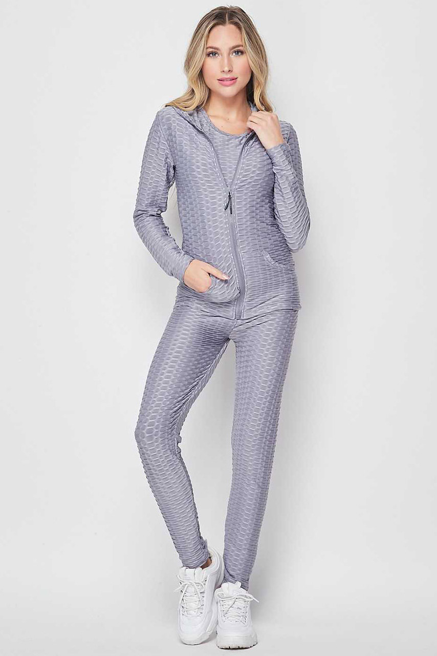 Front view of Light Gray 3 Piece Scrunch Butt Leggings Tank Top and Hooded Jacket Set