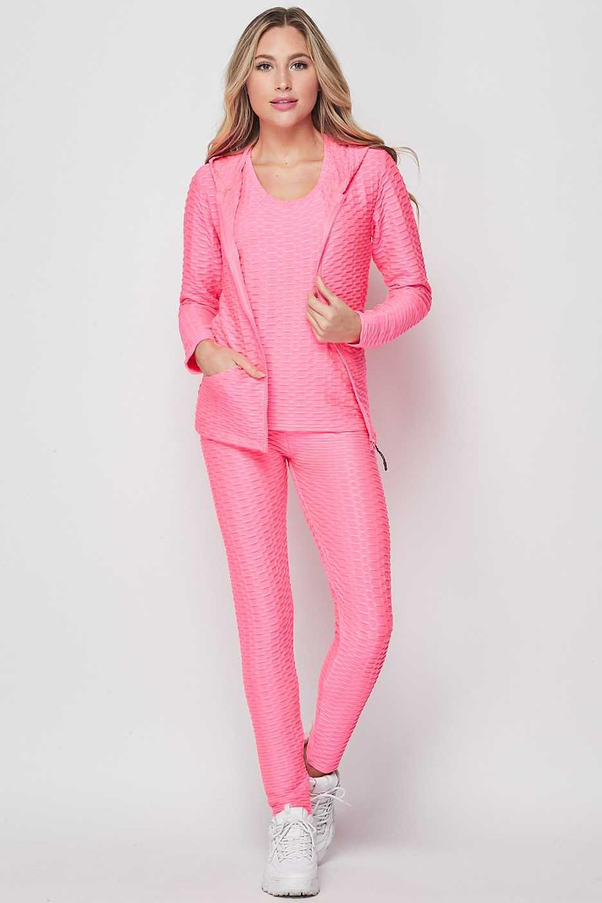 Front view of Pink 3 Piece Scrunch Butt Leggings Tank Top and Hooded Jacket Set