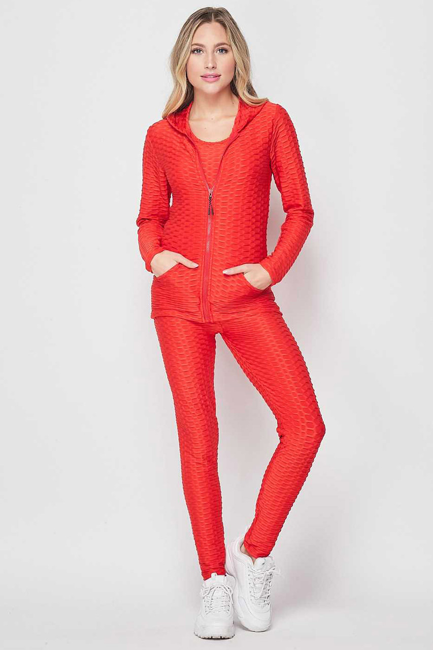 Front view of Red 3 Piece Scrunch Butt Leggings Tank Top and Hooded Jacket Set