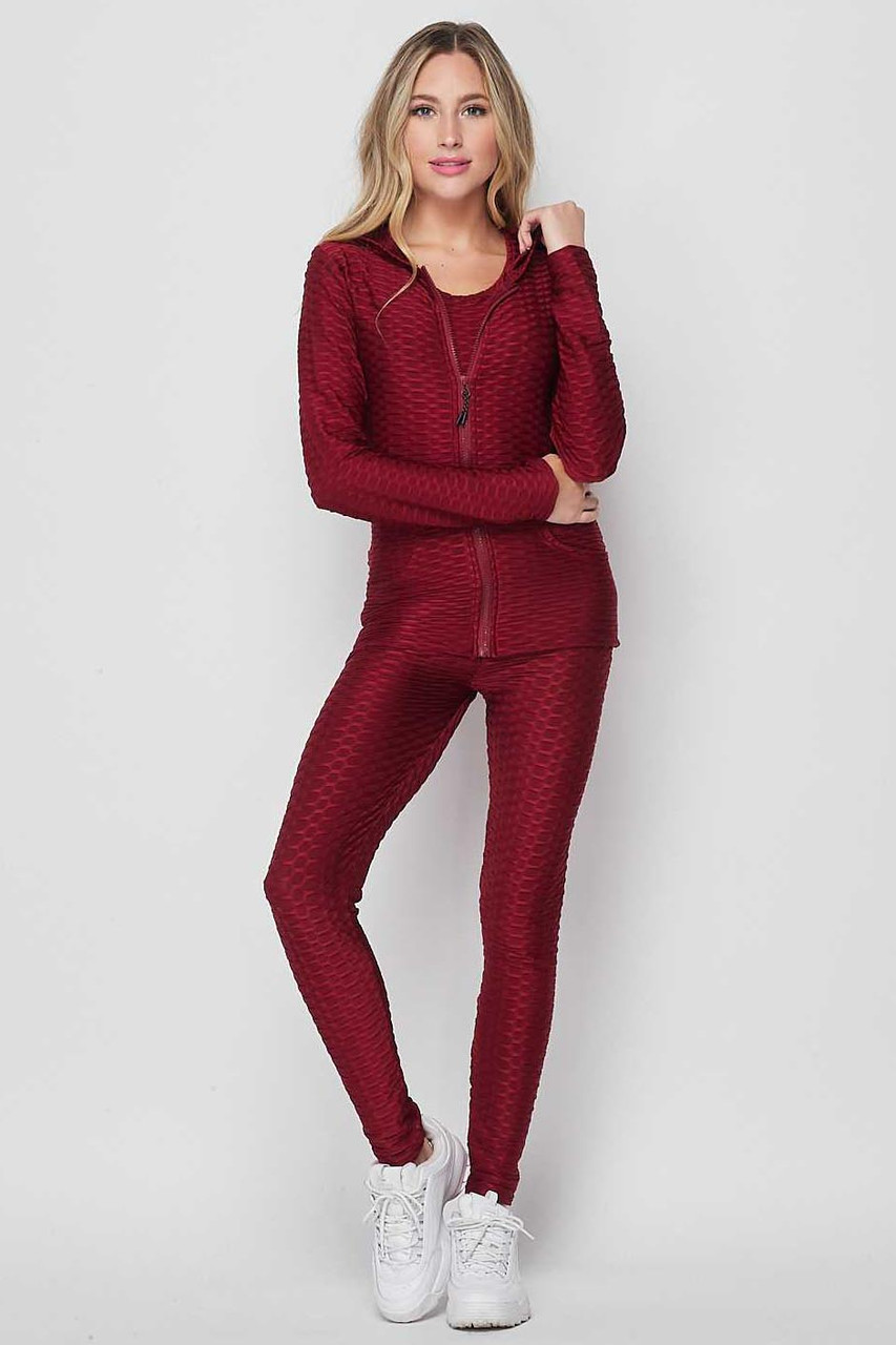 Front view of Burgundy 3 Piece Scrunch Butt Leggings Tank Top and Hooded Jacket Set