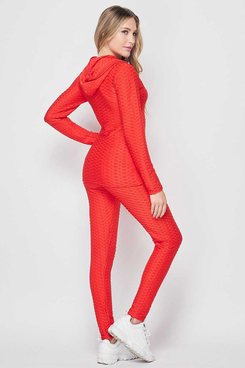 Right side view of Red 3 Piece Scrunch Butt Leggings Tank Top and Hooded Jacket Set