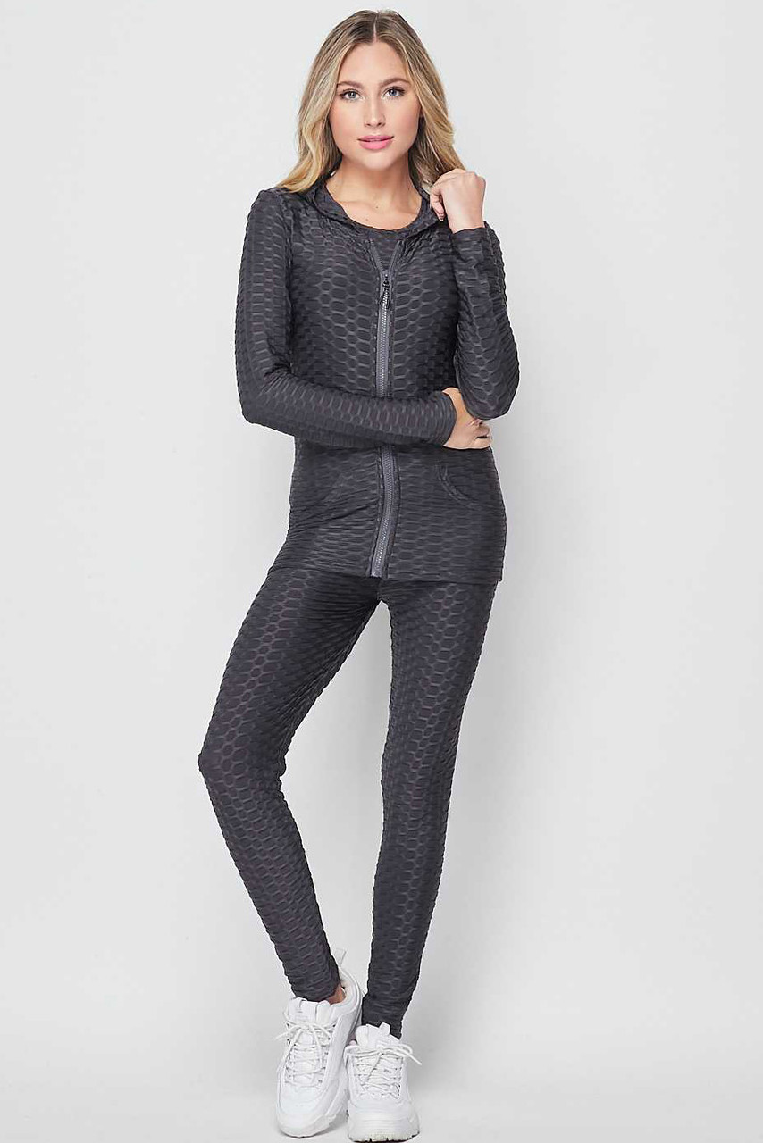 Front view of Charcoal 3 Piece Scrunch Butt Leggings Tank Top and Hooded Jacket Set