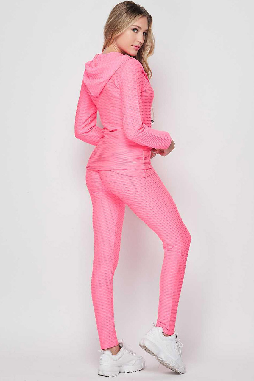 Right side view of Pink 3 Piece Scrunch Butt Leggings Tank Top and Hooded Jacket Set