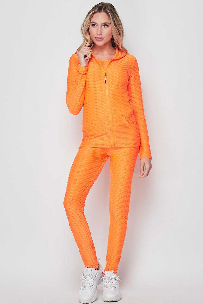Front view of Neon Orange 3 Piece Scrunch Butt Leggings Tank Top and Hooded Jacket Set