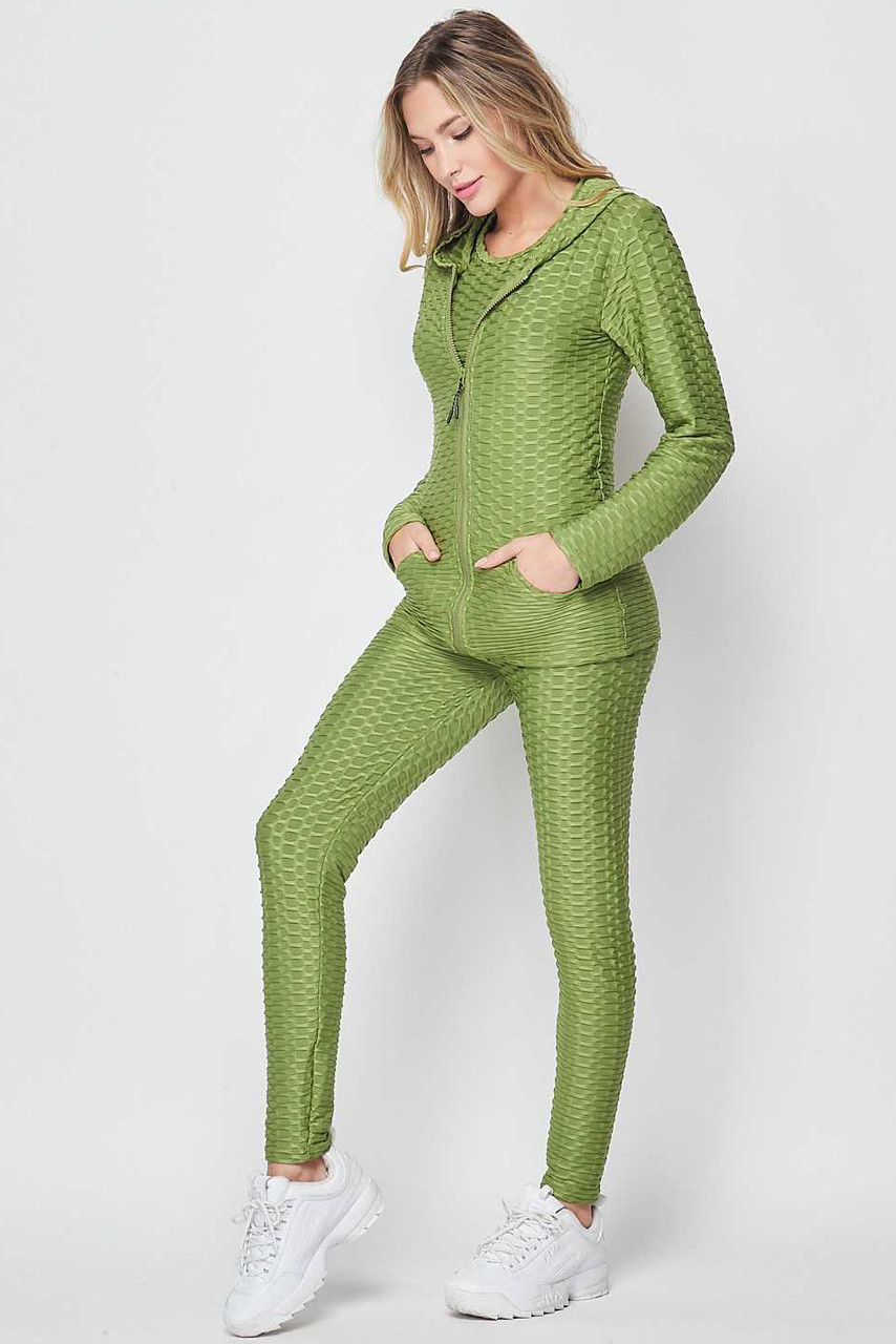 Left side view of Green 3 Piece Scrunch Butt Leggings Tank Top and Hooded Jacket Set