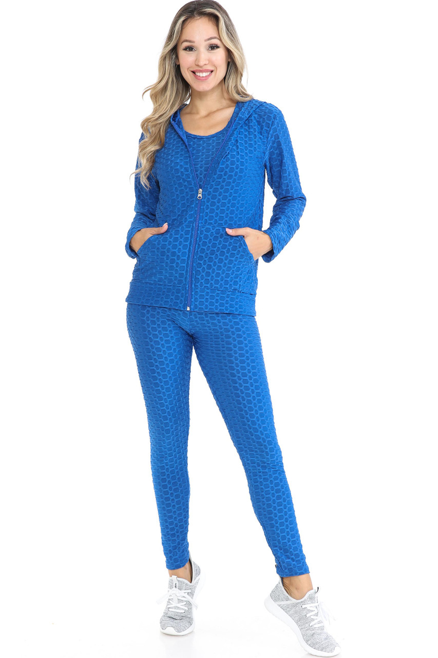 Front view of Blue 3 Piece Scrunch Butt Leggings Tank Top and Hooded Jacket Set