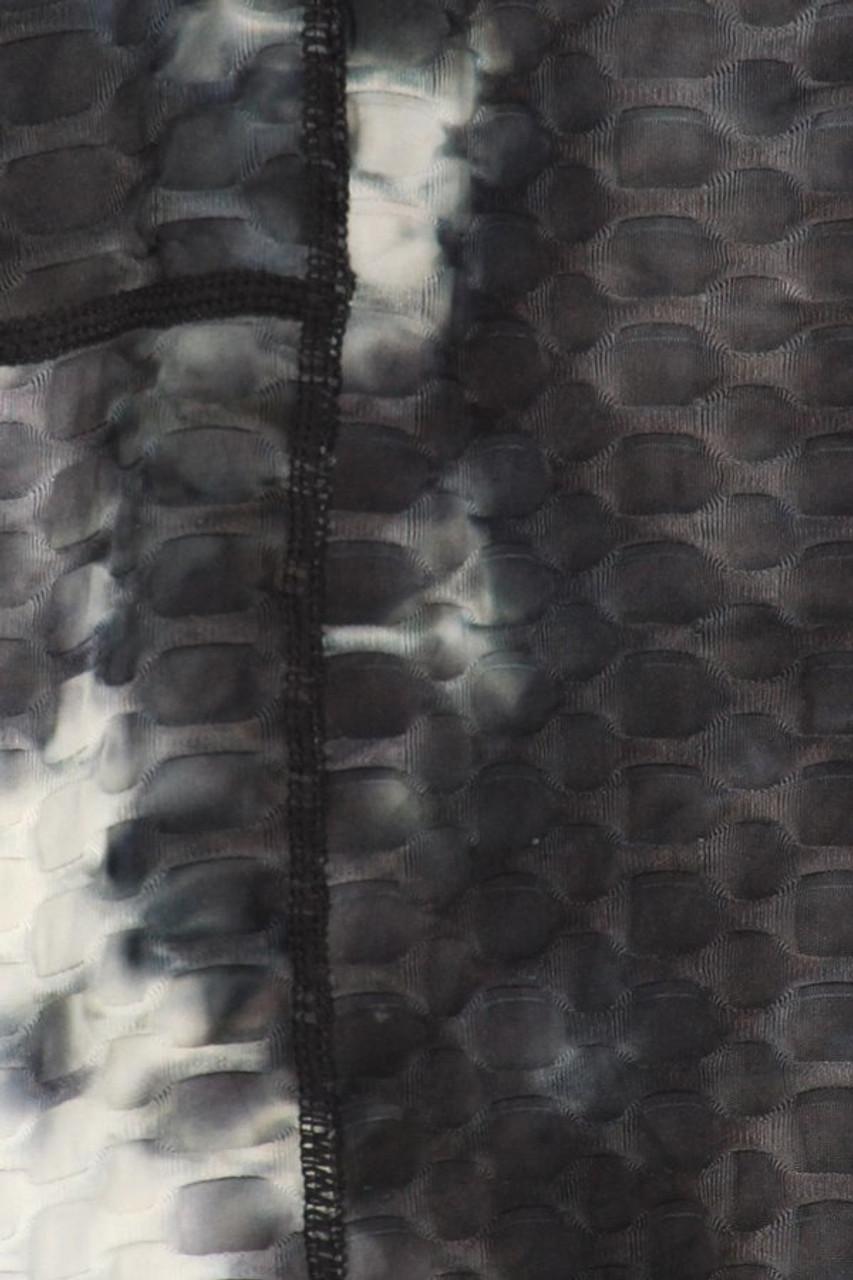 Close up swatch of Black 2 Piece Scrunch Butt Leggings Crop Top Sport Set