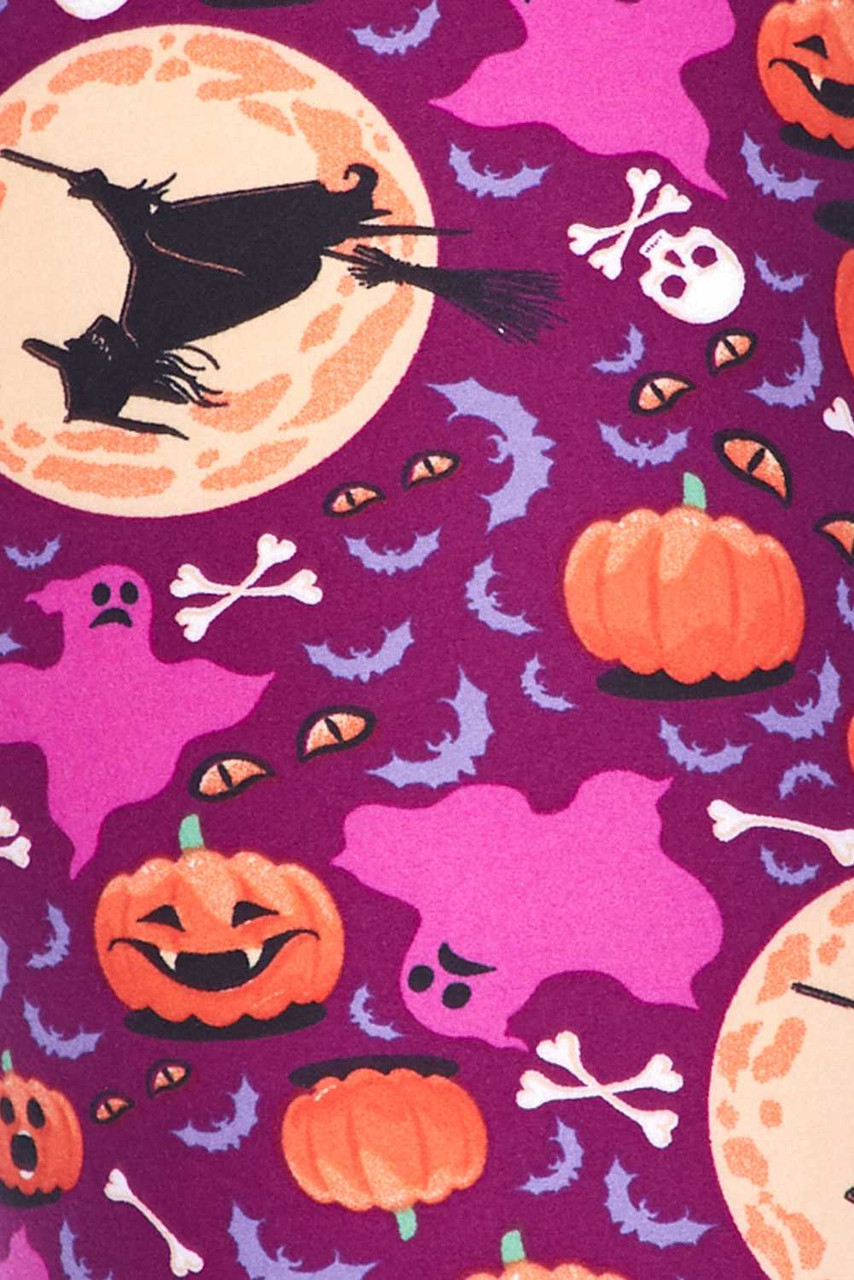 Close up fabric swatch of Buttery Soft Wicked Witches Plus Size Leggings