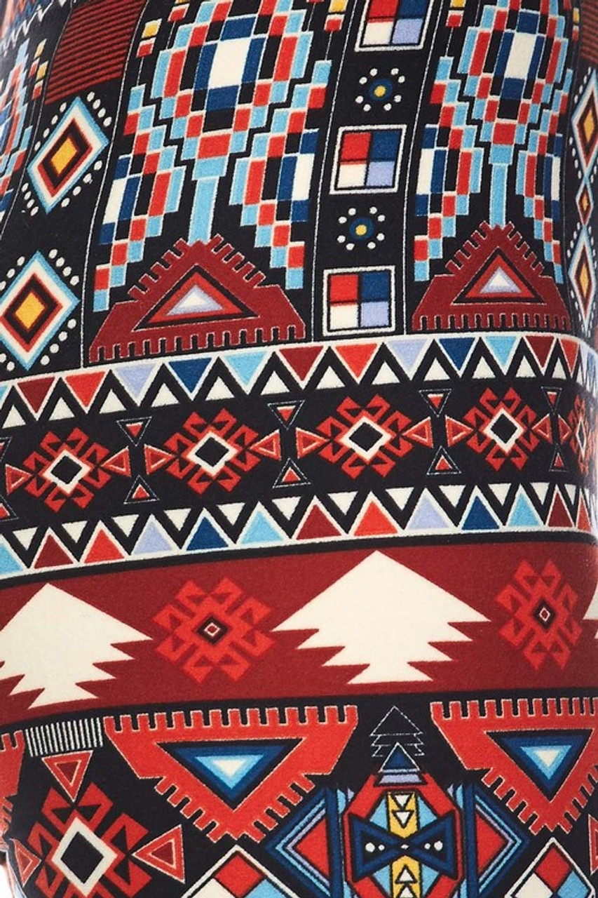 Close up swatch of Buttery Soft Red Tribal Kids Leggings
