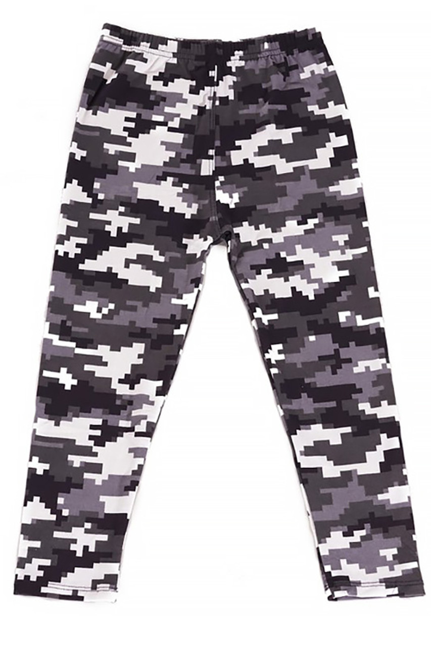 Flat Front view image of Buttery Soft Pixel Black and White Camouflage Kids Leggings with a neutral black, white, and gray color scheme.