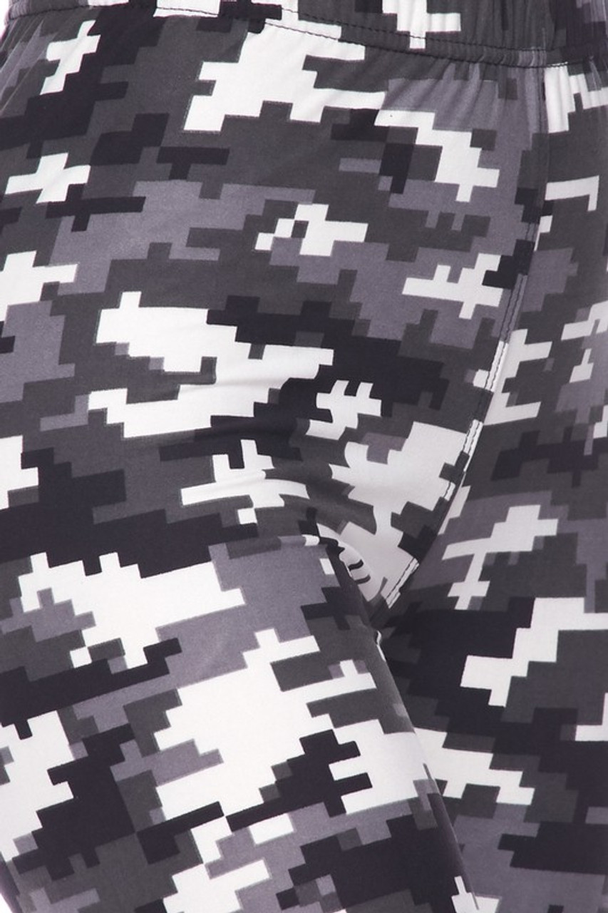 Close up swatch of Buttery Soft Pixel Black and White Camouflage Kids Leggings