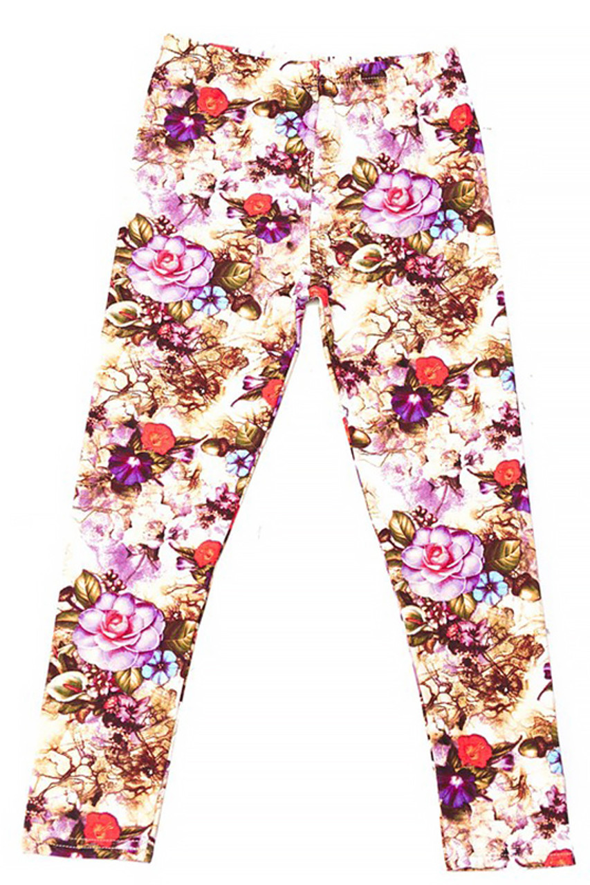 Flat front view image of Buttery Soft Ginger Summer Floral Kids Leggings white gorgeous beige, brown, pink. and red tones.