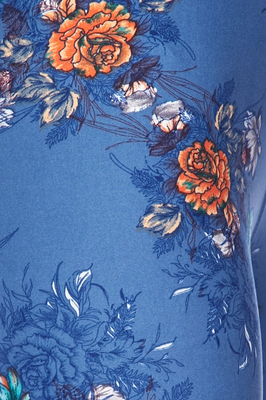 Close up fabric swatch image of Buttery Soft Denim Blue Floral Rose Kids Leggings