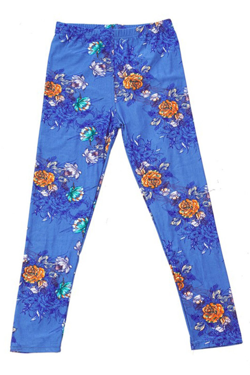 Front flat view image of Buttery Soft Denim Blue Floral Rose Kids Leggings with orange, teal, and white flowers on a blue background.