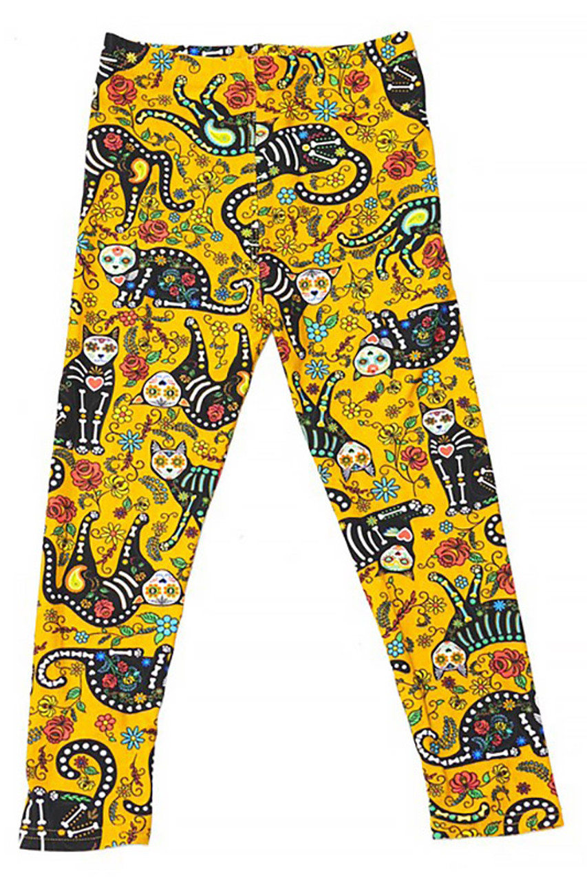 Flat front view image of Buttery Soft Kitty Cat Mustard Sugar Skull Kids Leggings with a cool sugar skull style kitty print with vibrant floral accents.