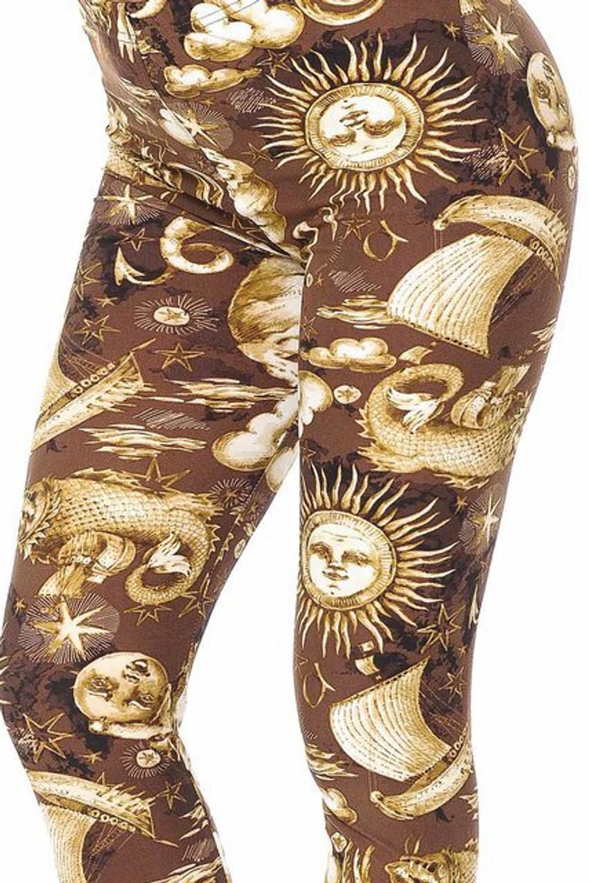 Bent knee close-up of Buttery Soft Sun Moon Stars Steampunk Kids Leggings
