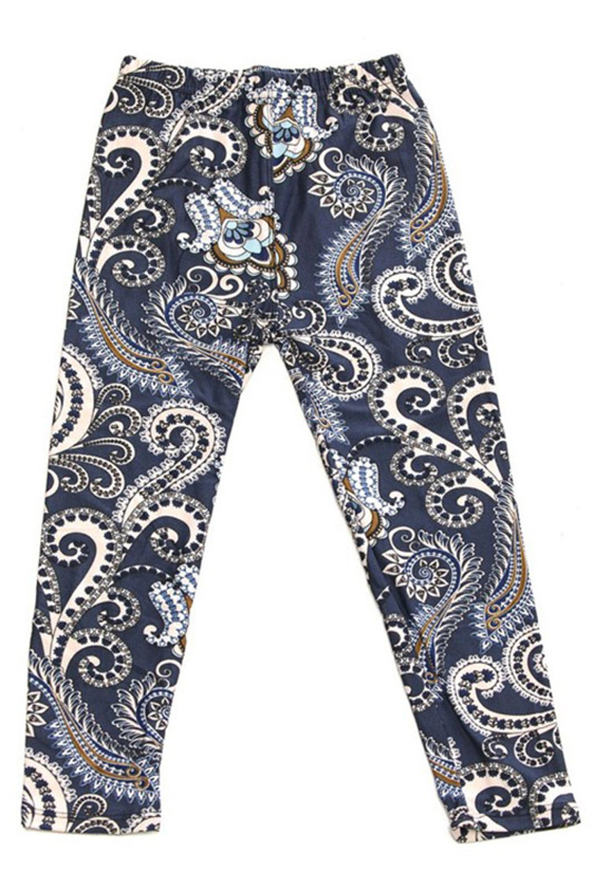 Flat front view image of Buttery Soft Navy Paisley Kids Leggings