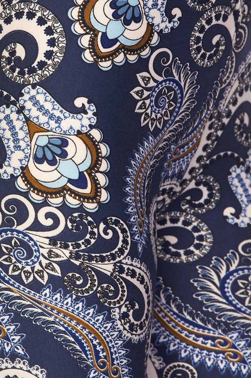 Close up swatch of Buttery Soft Navy Paisley Kids Leggings