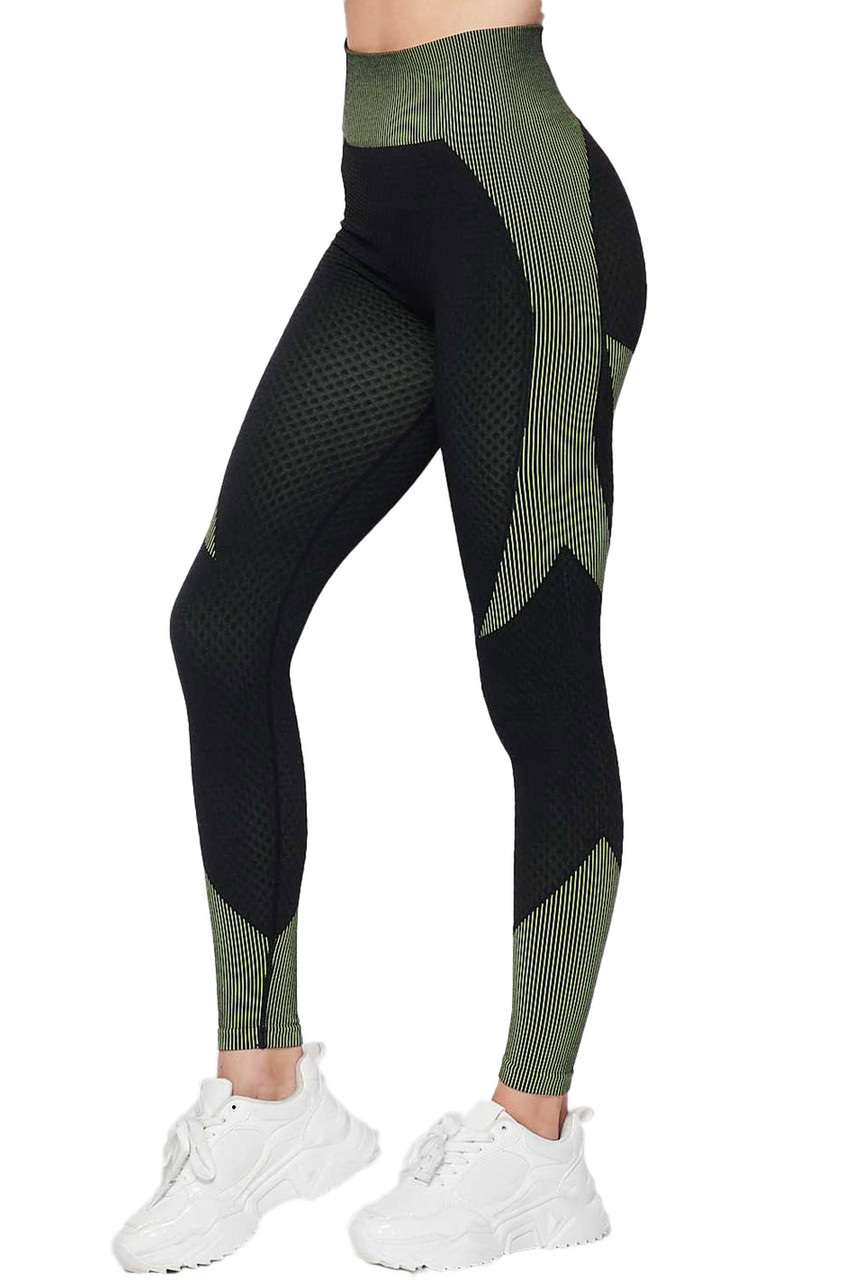 Left side view of Olive Sexy Contouring Body Hug Workout Leggings