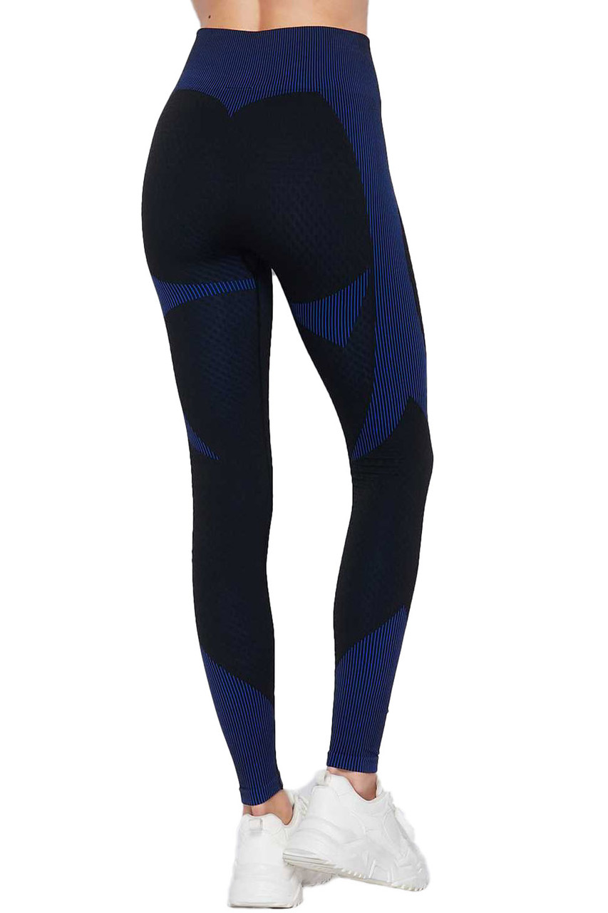 Rear view of Blue Sexy Contouring Body Hug Workout Leggings