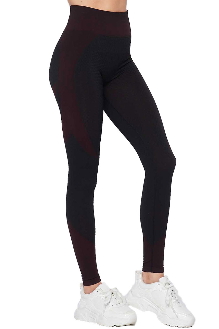 Right side view of Burgundy Sexy Contouring Body Hug Workout Leggings