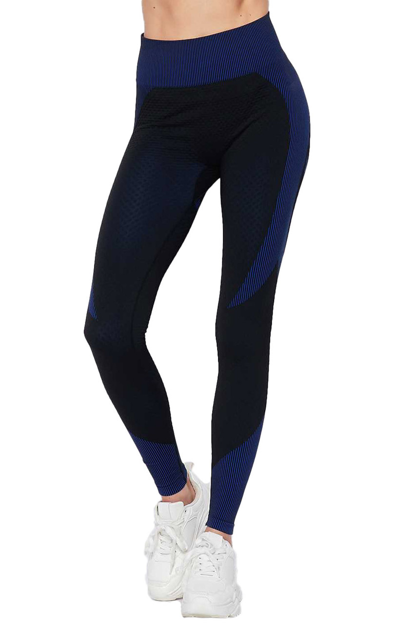 Front view of Blue Sexy Contouring Body Hug Workout Leggings