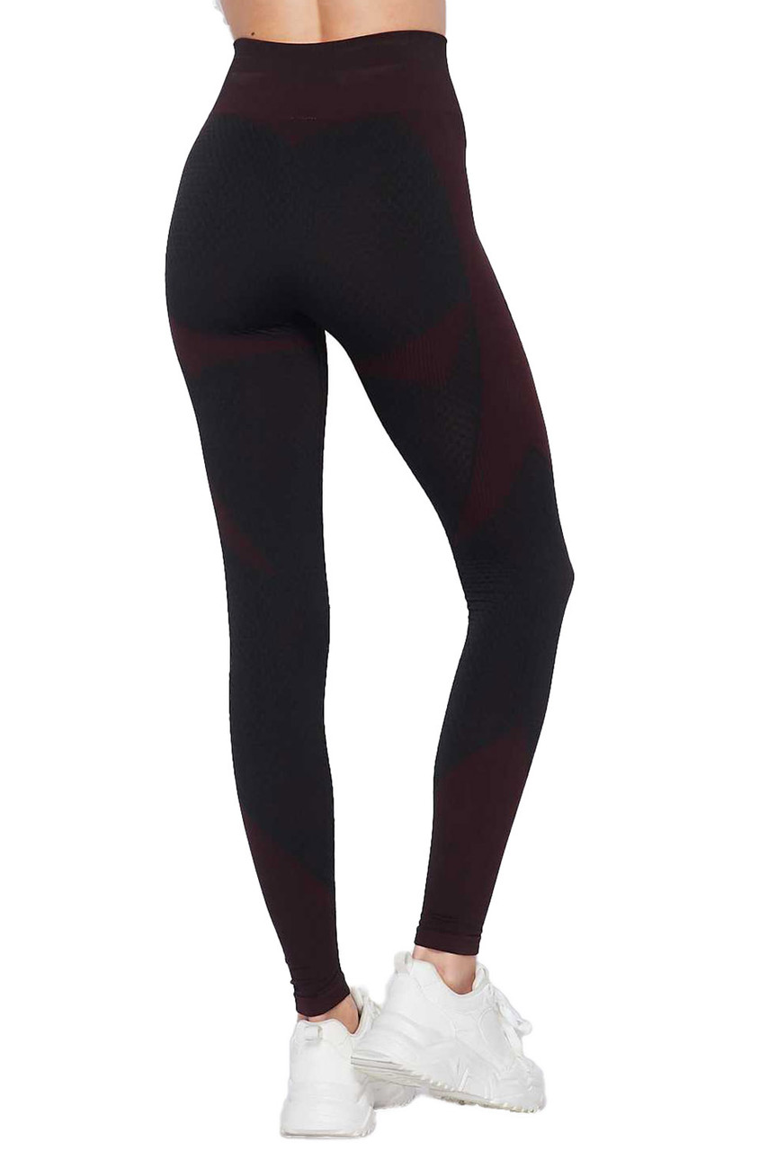 Rear view of Burgundy Sexy Contouring Body Hug Workout Leggings