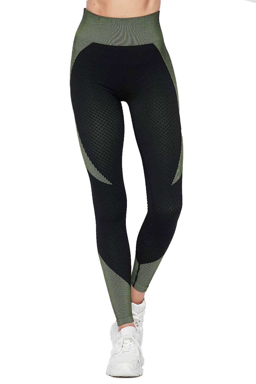 Front view of Olive Sexy Contouring Body Hug Workout Leggings