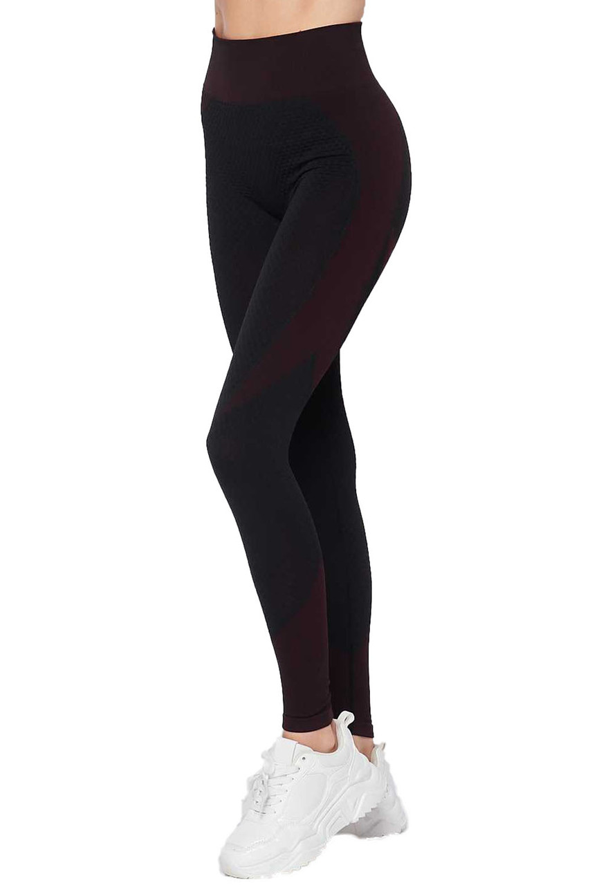Right view of Burgundy Sexy Contouring Body Hug Workout Leggings