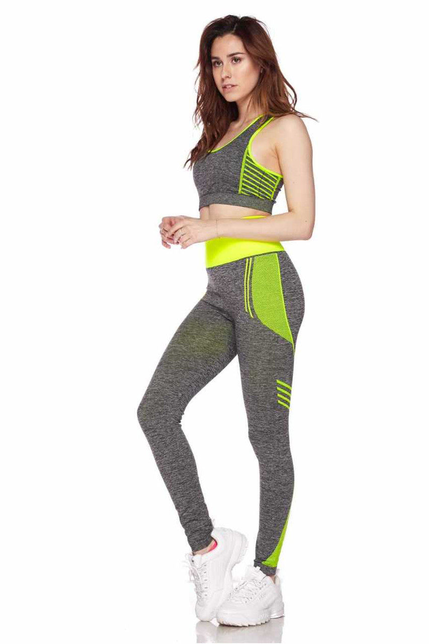 Right side view of Yellow Racerback Tank Top and Leggings Activewear Set