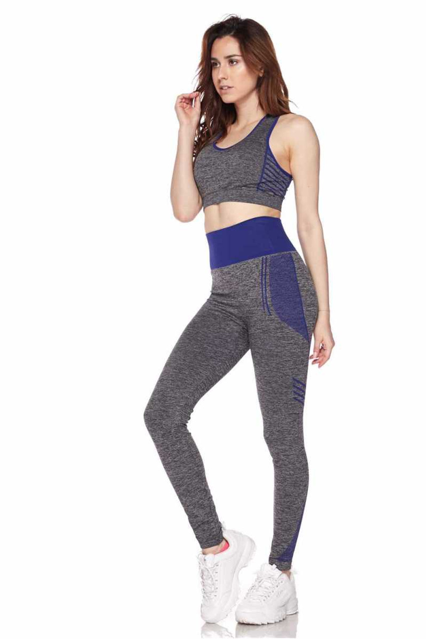 Right side view of Blue Racerback Tank Top and Leggings Activewear Set