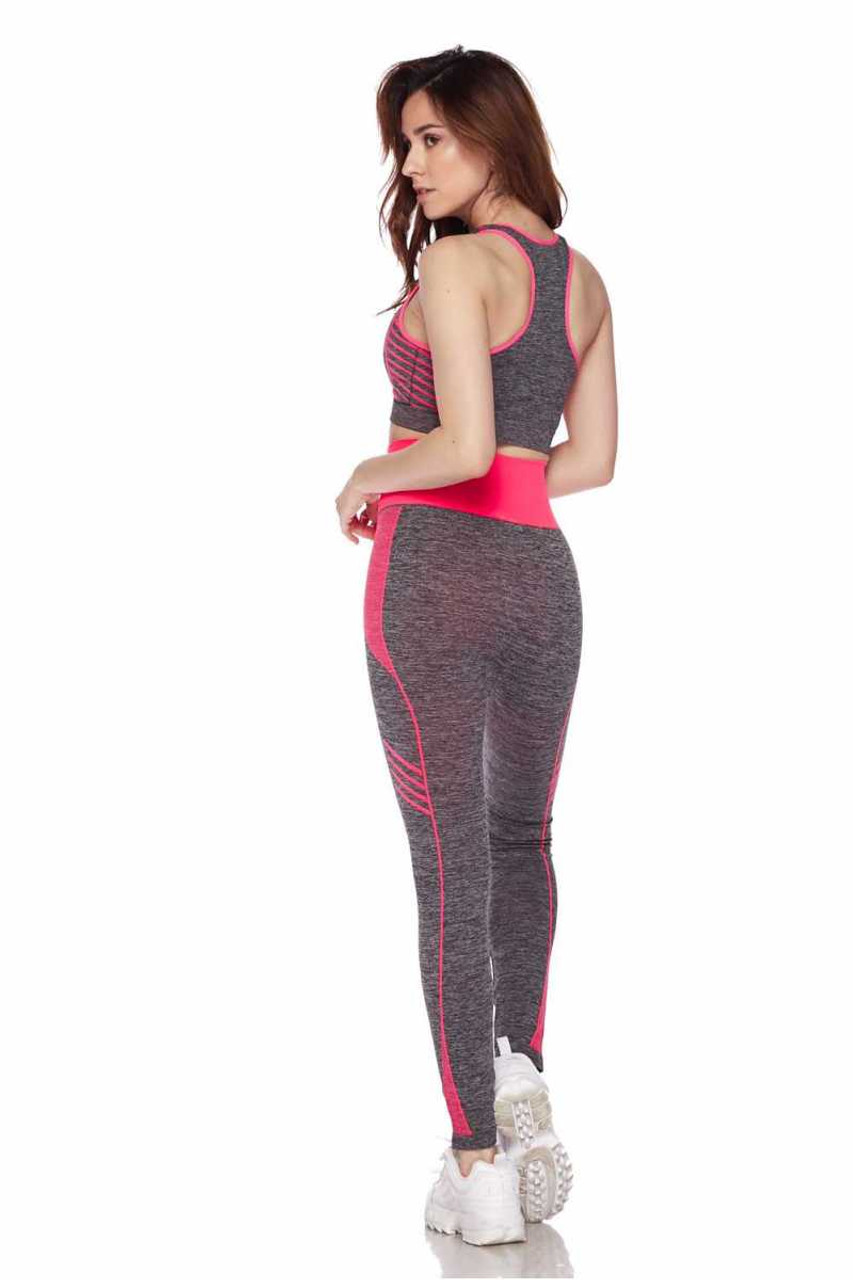 Right side view of Fuchsia Racerback Tank Top and Leggings Activewear Set