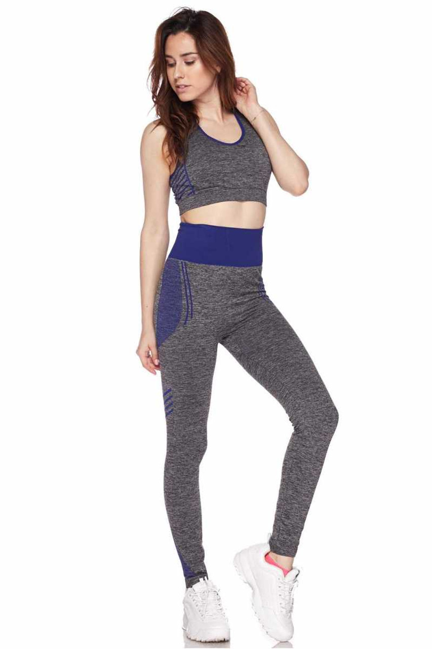 Front view of Blue Racerback Tank Top and Leggings Activewear Set