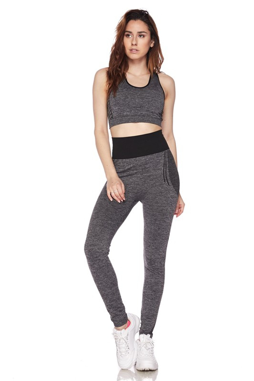 Front view of Black Racerback Tank Top and Leggings Activewear Set