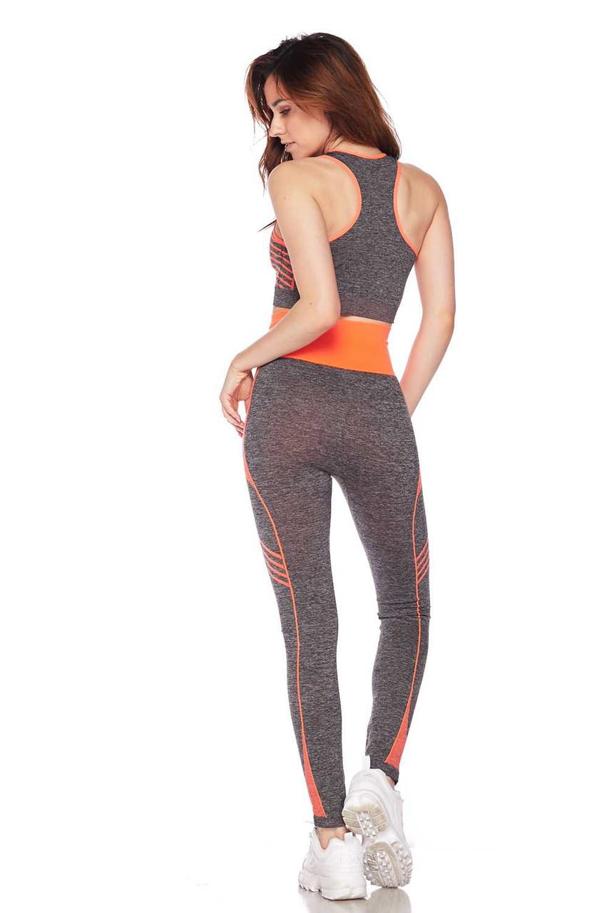Rear view of Orange Racerback Tank Top and Leggings Activewear Set