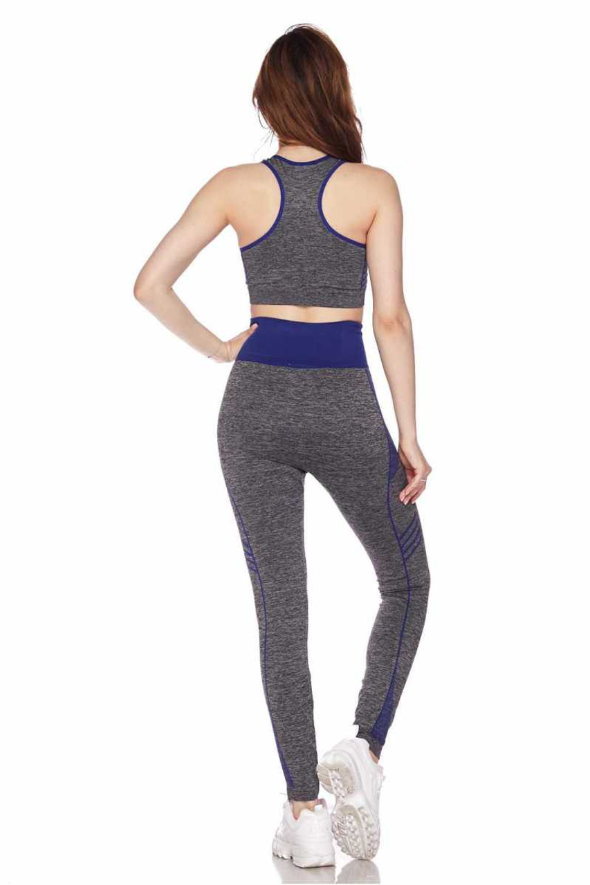 Rear view of Blue Racerback Tank Top and Leggings Activewear Set