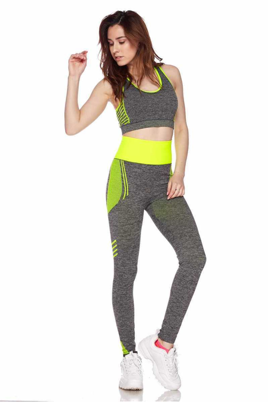 Front view of Yellow Racerback Tank Top and Leggings Activewear Set
